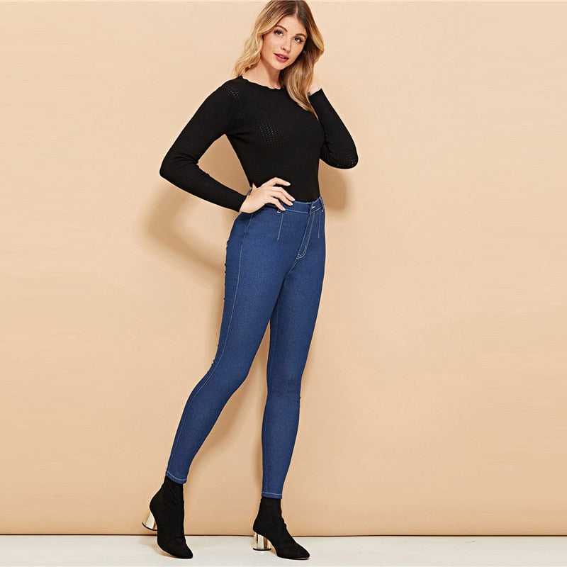 Casual Pencil Pants Blue Skinny High Waist Jeans Denim Zipper Fly Trousers Workwear - Jeybeauty