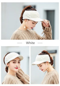 New Women Winter Hat Empty Top Ponytail Beanie Female Rabbit Fur Knitted Hat Fashion Winter Hats For Women Top Quality Girl Caps - Jeybeauty