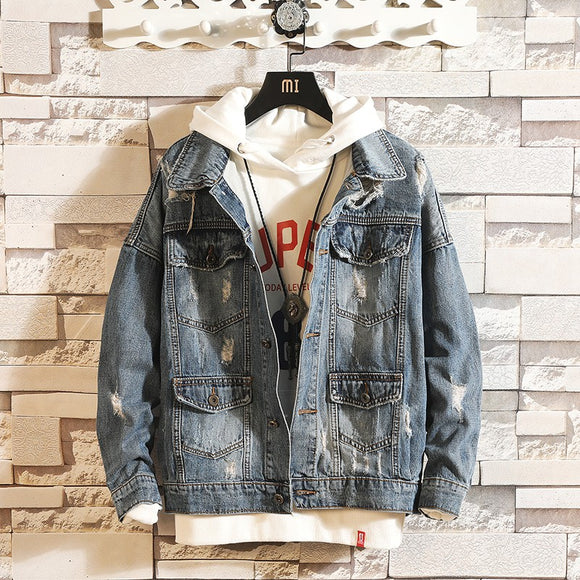 Brand New Fashion Men Distressed Denim Jacket - Jeybeauty