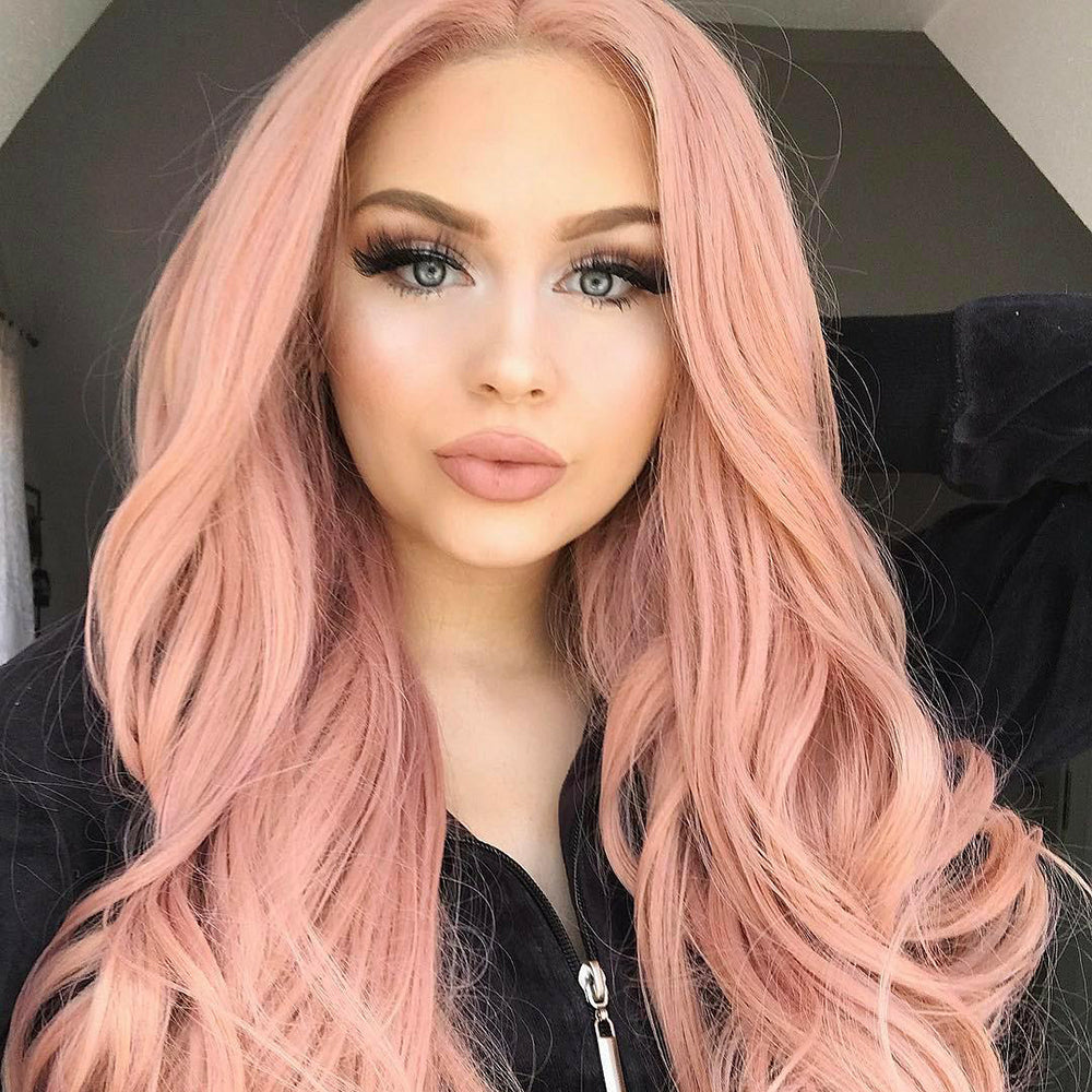 Long Wavy Orange Rose Pink Wig Middle Part Brazilian Hair  Synthetic Lace Front Fashion Wigs for Women - Jeybeauty