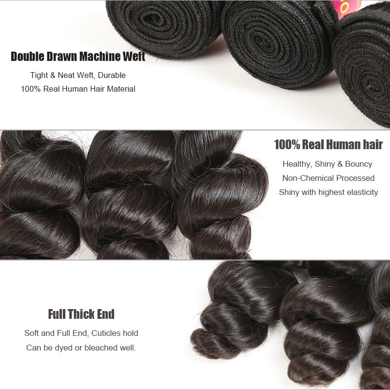 Brazilian Loose Wave Human Hair Bundle 10Pcs Lot Remy Hair - Jeybeauty