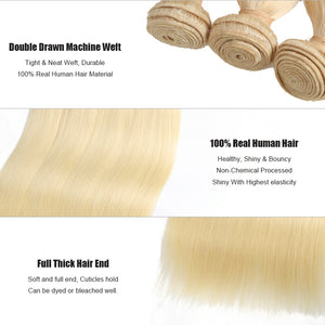 Blonde Hair  Straight Human Hair Remy Brazilian Hair Weave - Jeybeauty