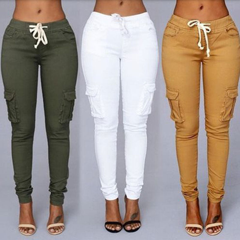 Cargo Pants Drawstring Pencil Pants - Jeybeauty
