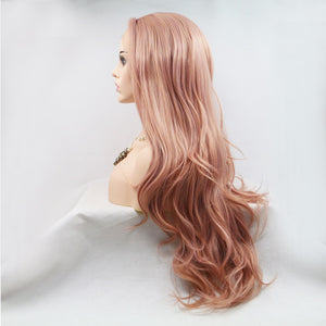 "Lace Front Wigs 24"" Long Pink Wig, Rose Blonde Middle Part Glueless Synthetic Full Wig with Natural Body Wave - Jeybeauty"