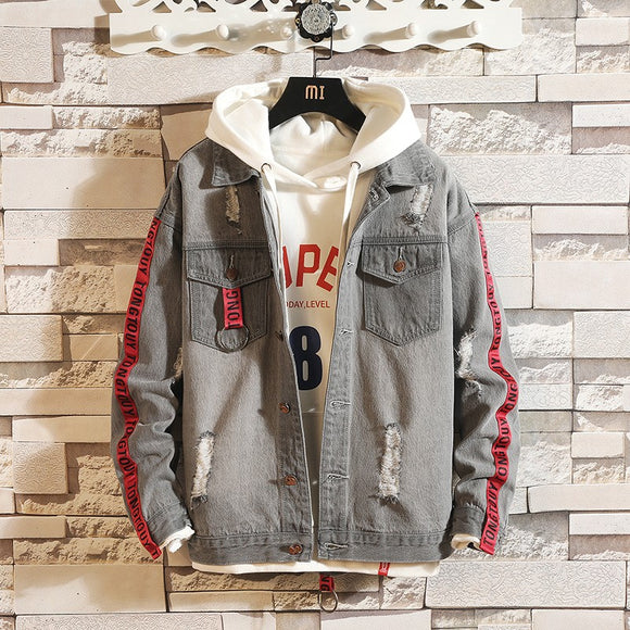 New Fashion Denim Jacket Men Outfit - Jeybeauty