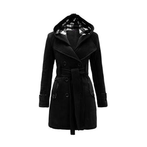 Plain Belt Female Coats Winter Warm Overcoats Hooded 2018 Autumn Elegant Vintage - Jeybeauty
