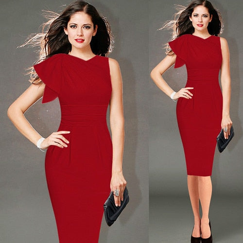 Elegant Three Quarter Ruched Party Wear To Work Fitted Stretch Slim Wiggle Pencil Sheath Bodycon Dress 1056 - Jeybeauty