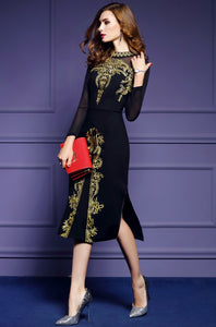 Black Dress 2018 Runway Gold Embroidery Long Sleeve - Jeybeauty