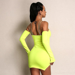 Hollow Out Mini Dresses Deep V Neck Bodycon Flare Sleeve - Jeybeauty