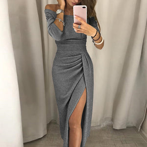 Off Shoulder High Slit Bodycon Dress - Jeybeauty