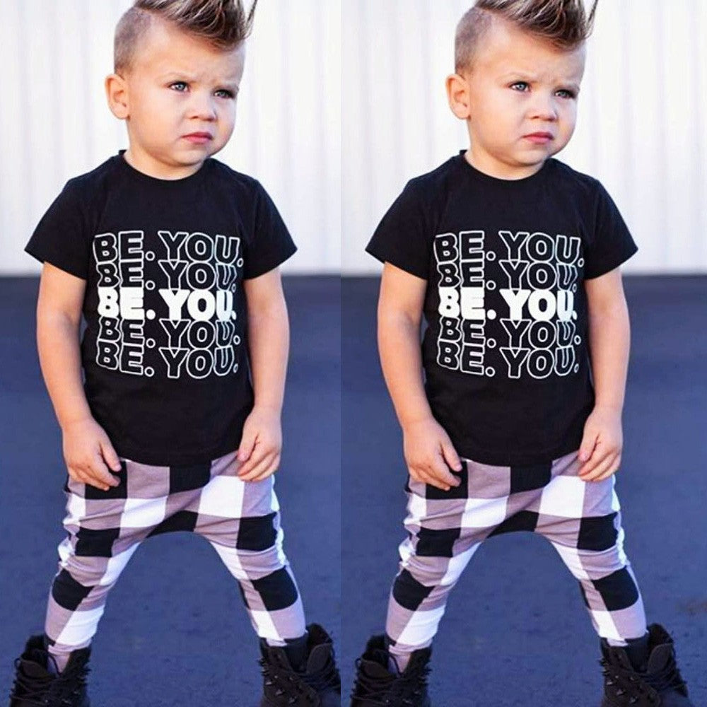 Infant Baby Girls Boys Letter Print  Outfits Set - Jeybeauty