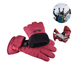 Adjustable Lithium Battery Electric Rechargeable Heated Gloves Touch Screen Motorcycle Ski Gloves Winter Warm Women - Jeybeauty
