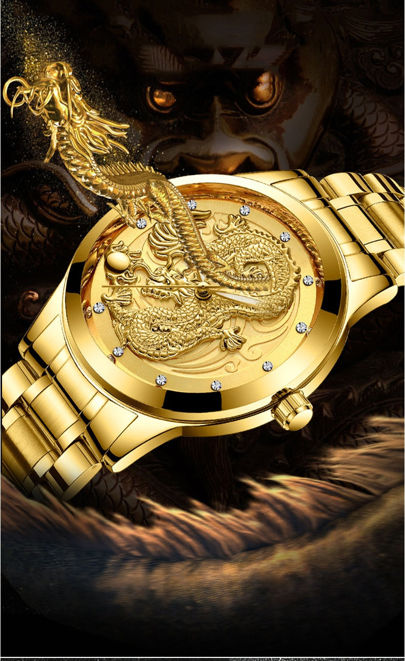 3D Gold Dragon Creative Quartz Watch Steel Waterproof - Jeybeauty
