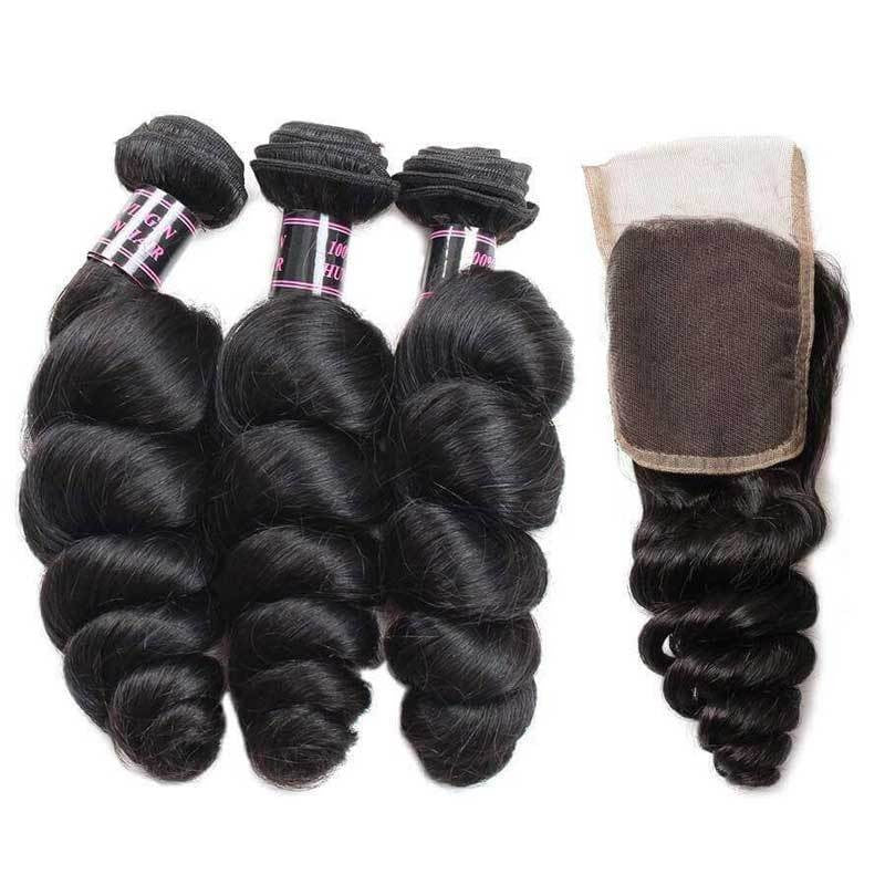Malaysian Unprocessed loose wave Virgin Human Hair bundle 3 Bundles With Lace Closure hair weaving human virgin hair bundles - Jeybeauty