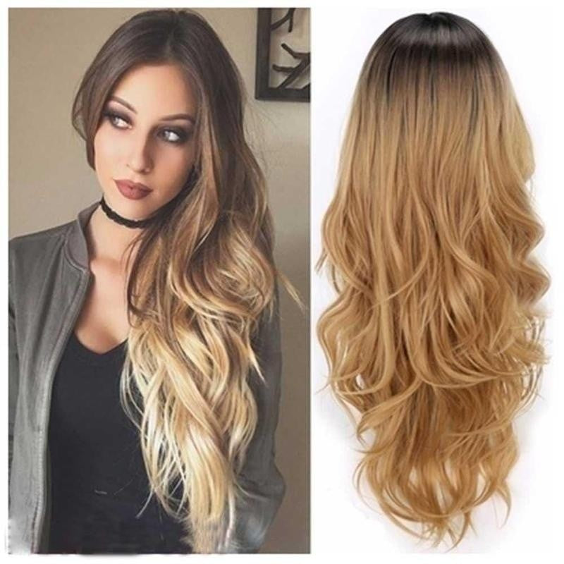 Ombre Blonde Long Wavy Curly Hair Wig - Jeybeauty