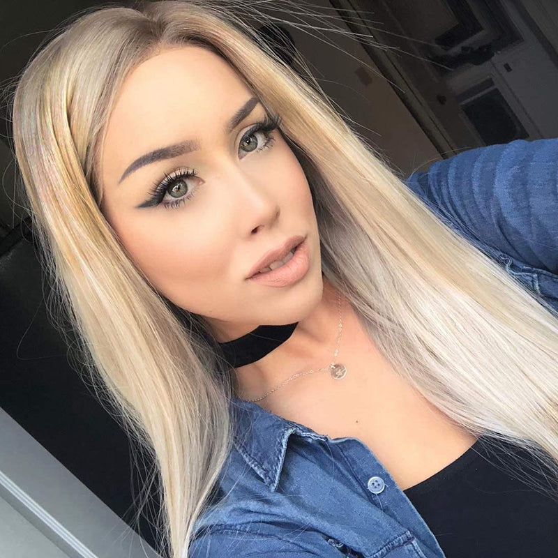Fiber Perruque 613 Full Long Natural Straight Hair Wigs Blonde Synthetic Lace Front Wig For Women - Jeybeauty