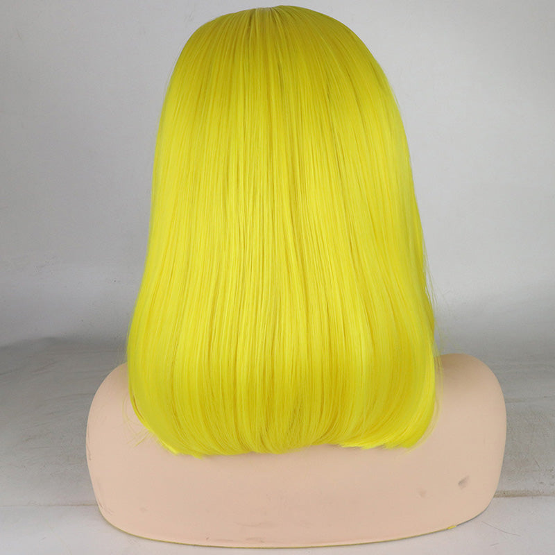 Yellow Lace Front Bob Wig Heat Resistant Fiber Replacement - Jeybeauty