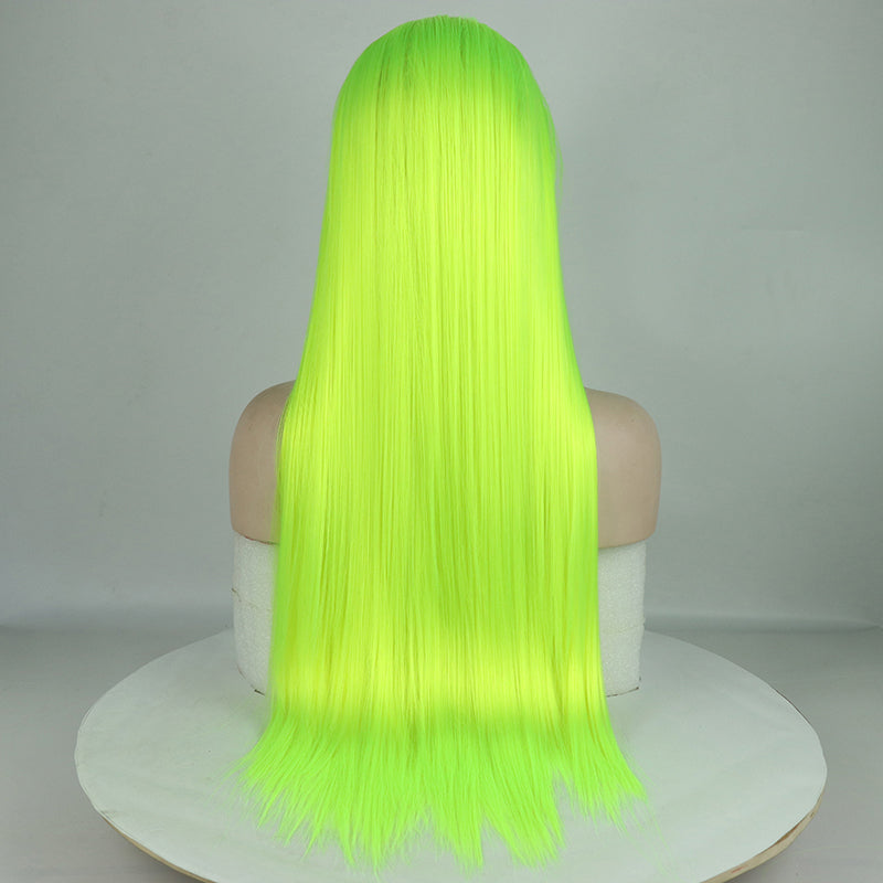 Yellow Green Wig Long Straight Synthetic Lace Front Wigs Top Fashion Fluorescence Lace Wig - Jeybeauty