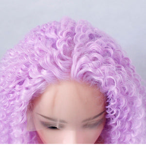 Afro Kinky Curly  Lace Front Light Purple Kinky Curly Synthetic Hair - Jeybeauty
