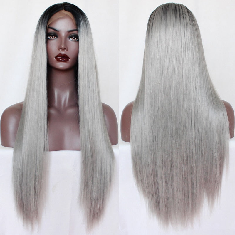 Ombre Grey Long Straight Synthetic Lace Front Wig Two Tone Colors - Jeybeauty