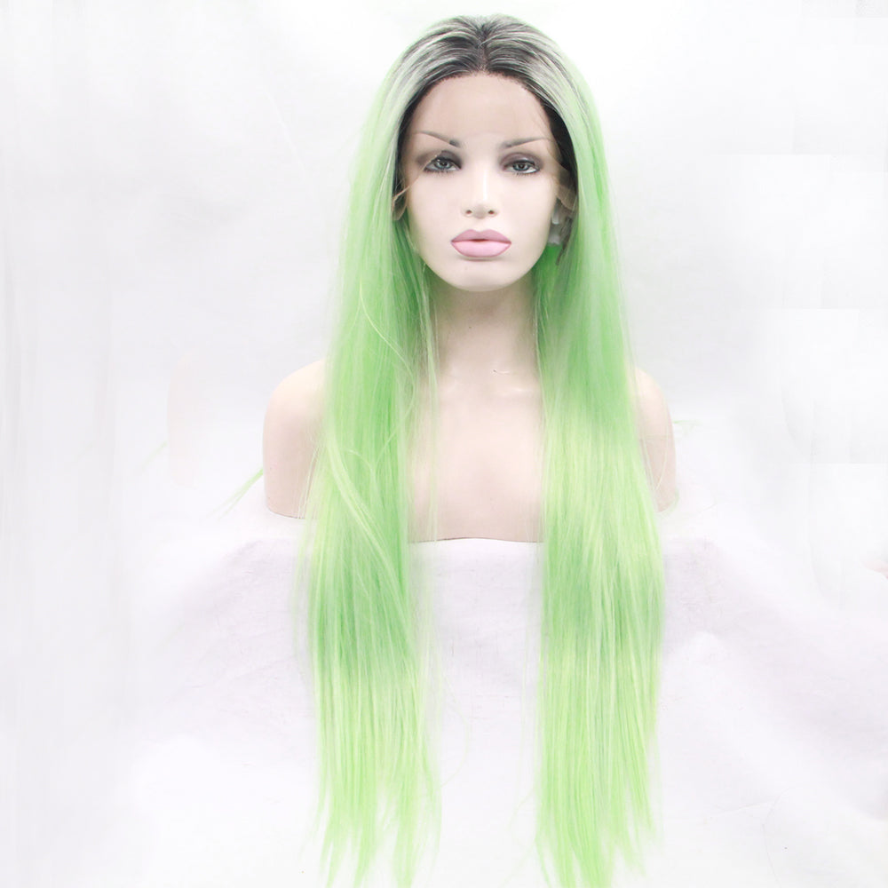 Synthetic Lace Front Wigs Long Straight Ombre Wig Heat Resistant Fiber Mint Green Black Roots Full Wigs for Woman - Jeybeauty