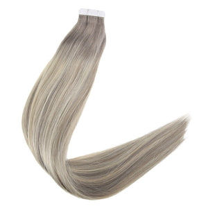 Tape In Hair Extensions Piano Color #19A and 60 White Blonde Glue on Hair 100% Remy Hair Tape in Extension - Jeybeauty