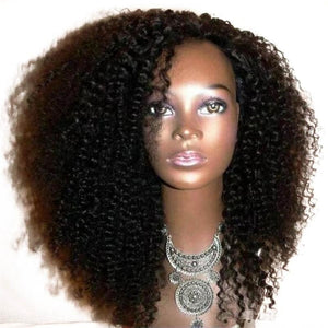 Black Curly Hair Wig Synthetic Glueless No Lace Front Jerry Curl Hair Wigs - Jeybeauty