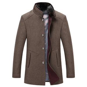 Men's Casual Wool Trench Long Thicken Slim Overcoat Jacket - Jeybeauty
