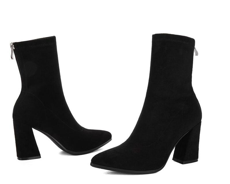 Pointed toe high-heel boots  Suede Leather ankle boots - Jeybeauty