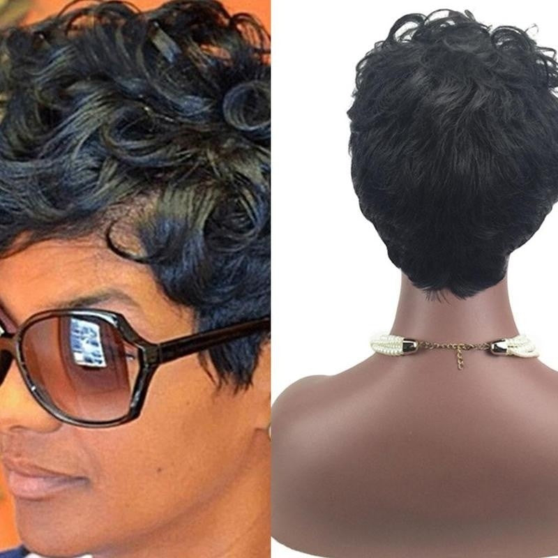 Short Black Front Curly Hairstyle Synthetic Hair Wigs - Jeybeauty