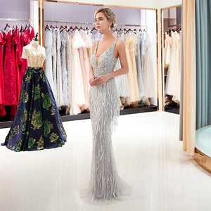 2019 V Neckline Feather Luxury Grey Evening Dress Beaded Evening Gown New Arrival - Jeybeauty