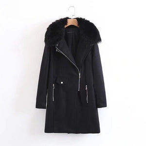 autumn and winter woolen coat long section black fur collar thick coat side zipper pocket collar - Jeybeauty