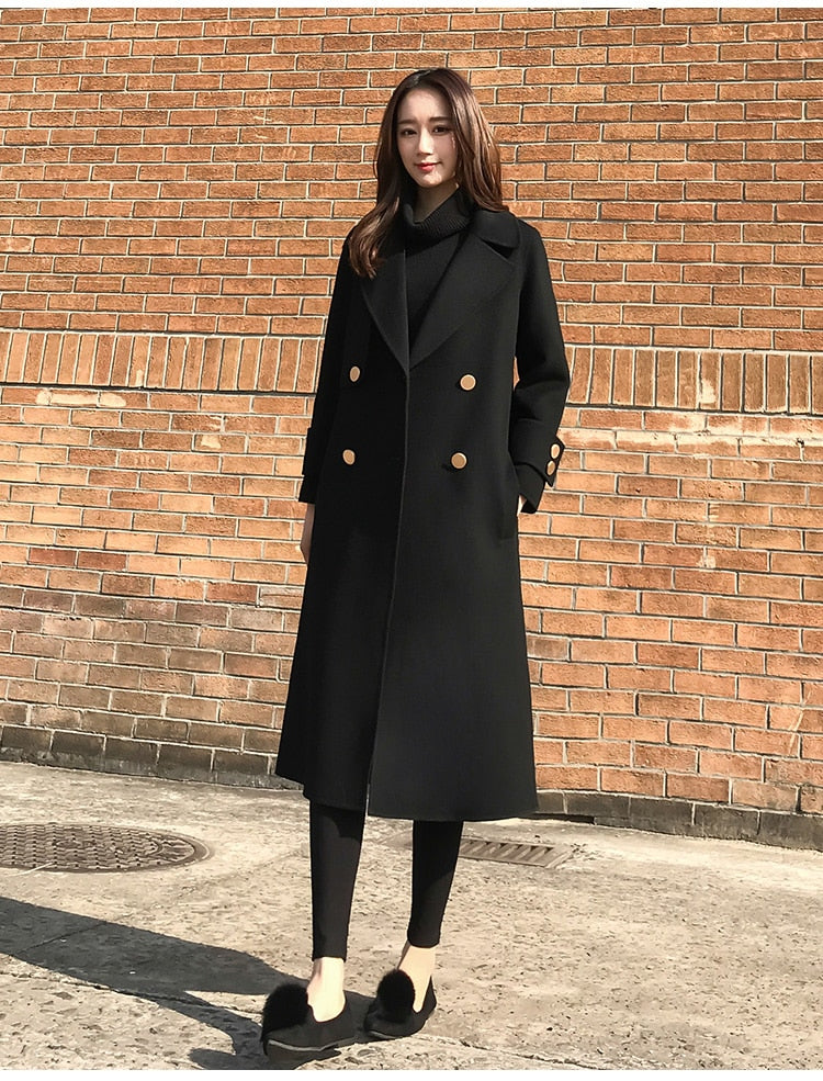black woolen coat - Jeybeauty