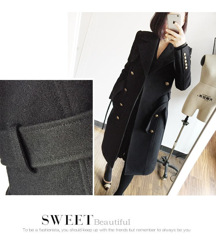 High Qulaity Wool Blends Long Double-breasted Slim Women Winter Jackets - Jeybeauty