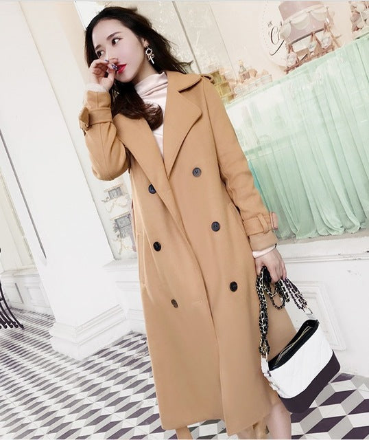 Turn-down Collar Solid Side slit Loose coat Casual Double Breasted fashion Keep warm Overcoat - Jeybeauty