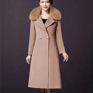 2018 New Casual Long-sleeved Middle-aged Winter collar Woolen Coat - Jeybeauty