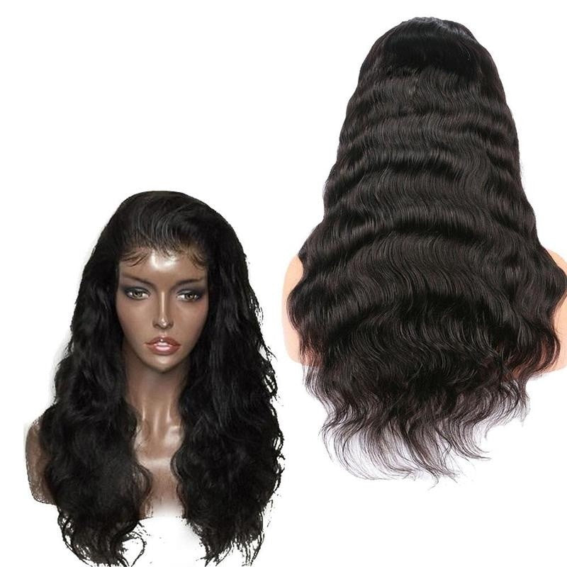 Lace Front Hair Wigs Body Wave Brazilian Remy Hair Natural Black - Jeybeauty