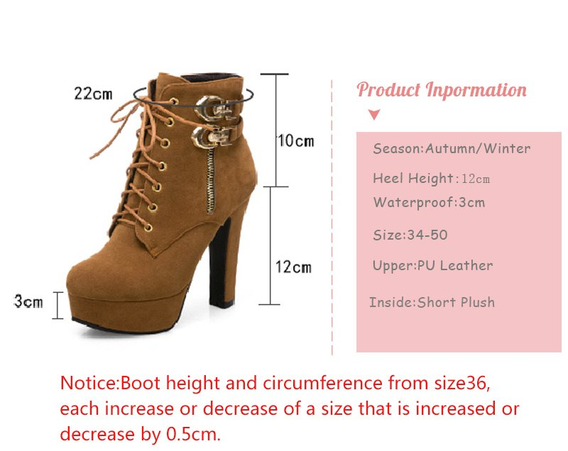 High Heels Lace Up Buckle Shoes Thick Heel Short Boot Ladies Zipper Footwear  Ankle Boots T511 - Jeybeauty