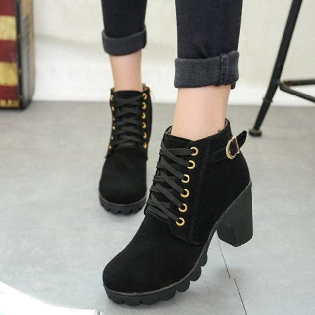 Simple Thick Heel Short Boots High Heel Ankle Boots Lace Up Fur Ladies Shoes - Jeybeauty