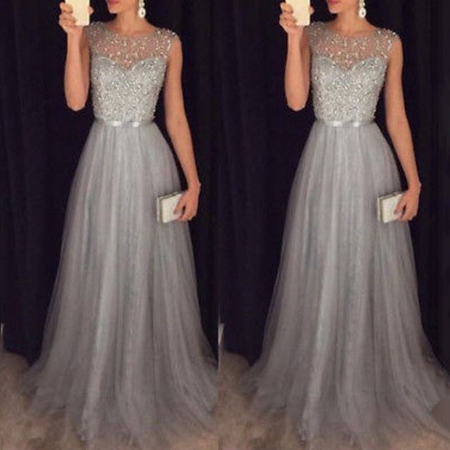 Elegant O Neck Sleeveless Sequined Long Wedding Party Gowns - Jeybeauty