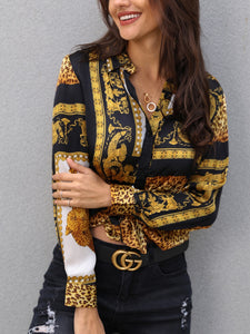 Loose Button Shirt Turn-down Collar Female Leopard Print Knot Front Long Sleeve Blouse - Jeybeauty