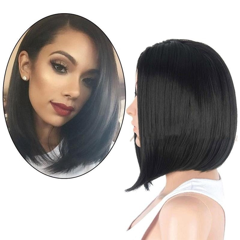 Bob Wig Short Straight Black Hair Natural Human Hair - Jeybeauty