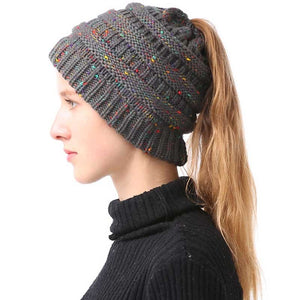 Stretch Messy Bun Winter Cap Skullies Beanies - Jeybeauty