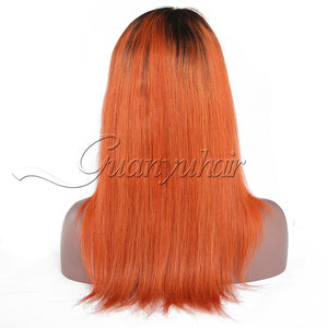 Pre-plucked #1B/Orange Lace Front Wigs Straight Peruvian Remy Human Hair 130% Density Free Part - Jeybeauty