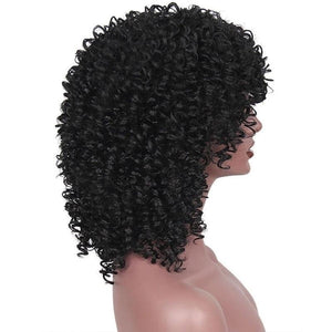 Short Afro Kinky Curly Black Wig Synthetic Wigs for Women Black Natural Afro Hair - Jeybeauty