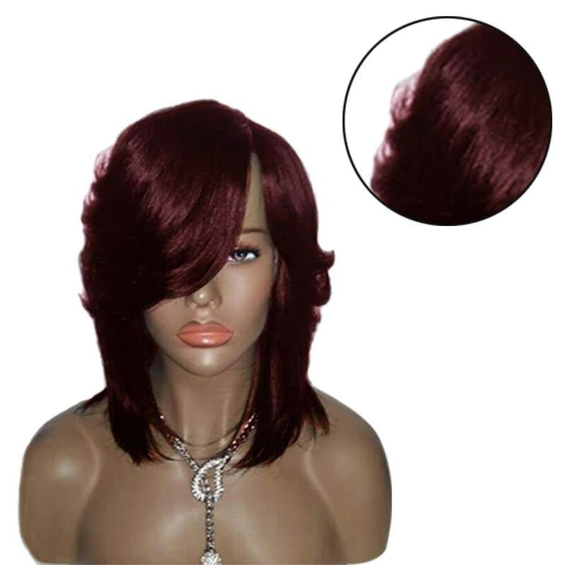 Natural Synthetic Hair Wave Curly Short Bob Wig with Bangs - Jeybeauty