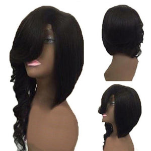 Slant Bangs Long Wave Wigs for Women Natural Curly Black Hair Wigs - Jeybeauty