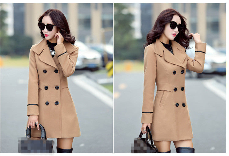 Elegant Double Breasted Coat Tops Female Fashion Blends Casual Long Coat - Jeybeauty