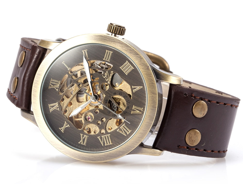 Men Automatic Self Wind Mechanical Skeleton  Wrist Watches Steampunk Transparent Leather - Jeybeauty