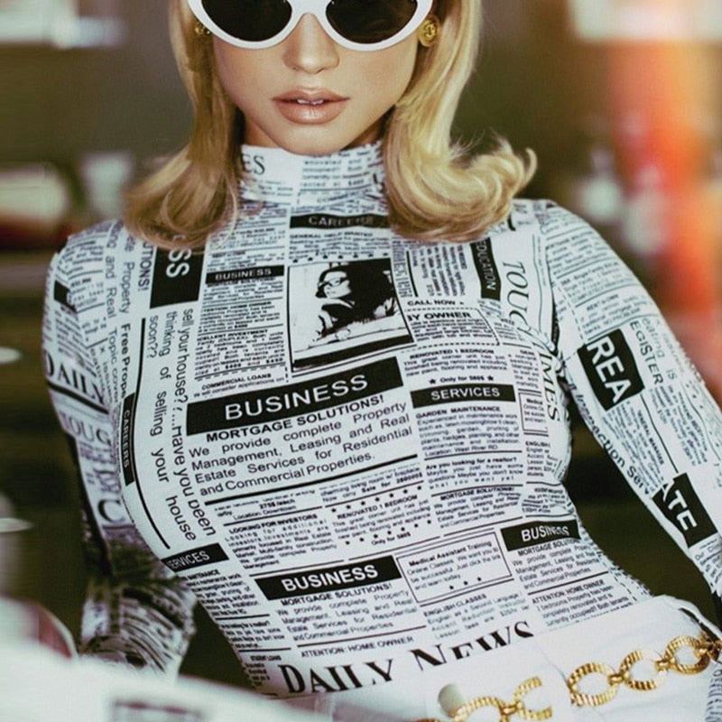 Rocked Girls Newspaper Letter Print Bodysuits - Jeybeauty